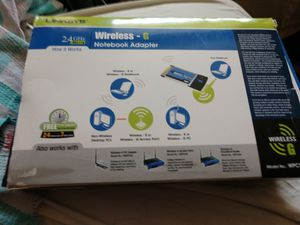 Linksys Wireless G 2.4 GHz 802.11g WPC54G Notebook WiFI Adapter CardBus Card for Sale in Plano, TX