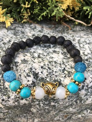Gold Fox head moonstone,turquoise lava stone bracelet for Sale in Los Angeles, CA
