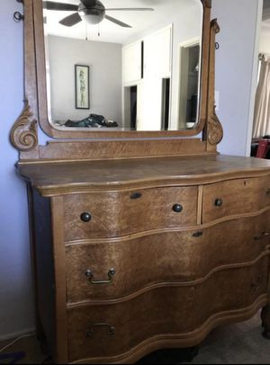 Dresser with Matching Queen bed frame made from real wood for Sale in Escondido, CA