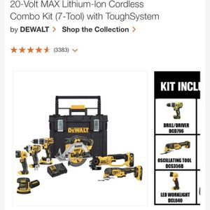 20-Volt MAX Lithium-Ion Cordless Combo Kit (7-Tool) with ToughSystem for Sale in Tampa, FL