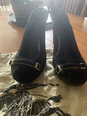 Burberry high hills black suede Original $200 OBO size 40 1/2 for Sale in Corona, CA