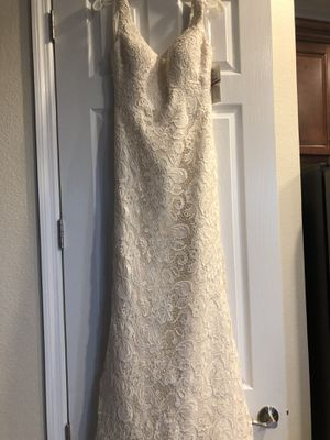 Oleg Cassini Tank Lace Wedding Dress with Beading Sz 4 for Sale in Lakeland, FL