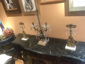 3 PIECE ANTIQUE BRONZE WITH MARBLE AND CRYSTAL NEOCLASSICAL CANDELABRA SET for Sale in Boca Raton, FL