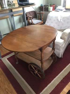 Antique Bar Cart Table with Chair for Sale in Union, NJ
