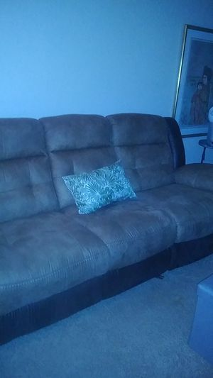 Dual recliner sofa. Suede microfiber with two tone trim. Paid 699. for Sale in Stuart, FL