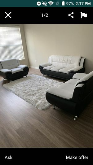 White/Black 3 Piece Sofa Set for Sale in Marietta, GA