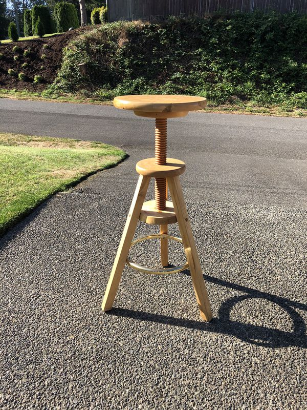 Wooden Adjustable height shop stool