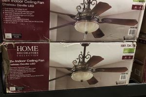 Home Decorators Collection Chateau Deville 52 in. Integrated LED Indoor Walnut Ceiling Fan with Light Kit and Remote Control- NEW IN BOX- 2 for $275 for Sale in San Antonio, TX