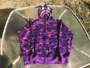 Bape Purple Camo Shark Hoodie Full Zip for Sale in GLMN HOT SPGS, CA