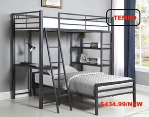 Twin Metal Workstation Loft Bed for Sale in Westminster, CA