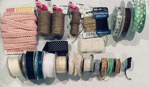Mixed lot of 25 rolls / spools of ribbon trim - lace + twine + chiffon + satin and more! for Sale in Tustin, CA