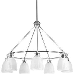 Lucky Collection 7-Light Polished Chrome Chandelier with Frosted Prismatic Glass for Sale in Las Vegas, NV