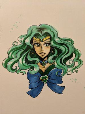 Sailor Moon Sailor Neptune copic ink art piece for Sale in Mesa, AZ