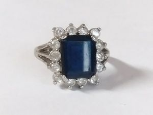 A Genuine Sterling Silver Blue and White Sapphire ring for Sale in Denver, CO
