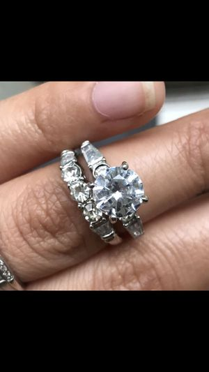 Sterling silver plated sapphire wedding engagement ring band set women's jewelry accessory size 6,7,8,9 available for Sale in Silver Spring, MD