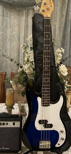 blue glen burton electric bass with case cable strap and amp for Sale in Bell Gardens,  CA