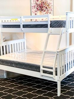 Twin Over Full White Bunk Bed for Sale in Dallas,  TX