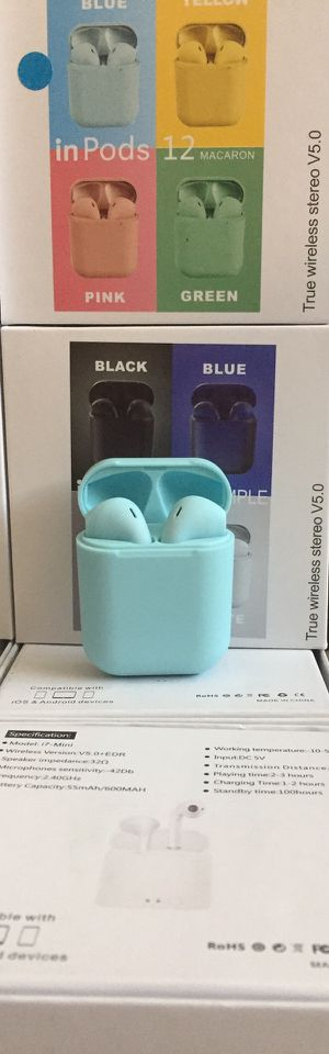 i12 Bluetooth headphones/earbuds/headset/compatible with Apple or Android phones/many styles available/brand new for Sale in Moreno Valley, CA