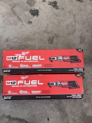 Milwaukee M12 FUEL 12-Volt Lithium-Ion Brushless Cordless 3/8 in. Ratchet (Tool-Only + M12 FUEL 12-Volt Lithium-Ion Brushless Cordless 1/2 in. Ratc for Sale in Chandler, AZ