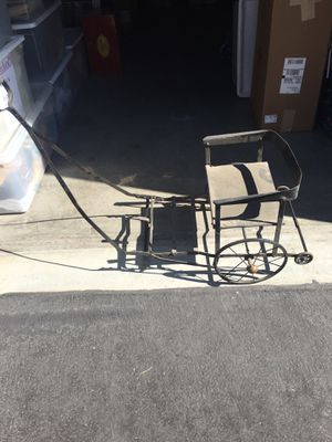 Vintage or antique doll carriage. Black iron with leather (?) for Sale in Mission Viejo, CA