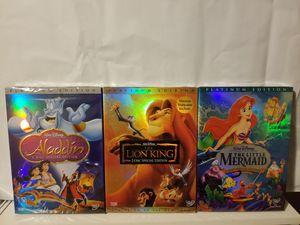 Walt Disney's Aladdin + Little Mermaid + Lion King DVDs for Sale in University Place, WA