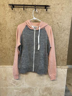 Gray/pink hoodie zipper jacket (lrg) for Sale in Arlington, TX