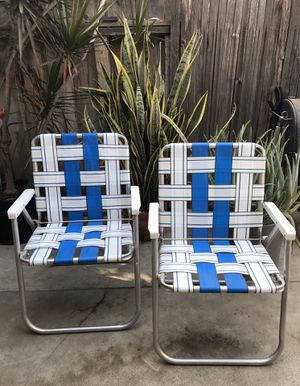 Pair Vintage Folding Chairs Aluminum Sunbeam Trailer Camping Equipment for Sale in Anaheim, CA