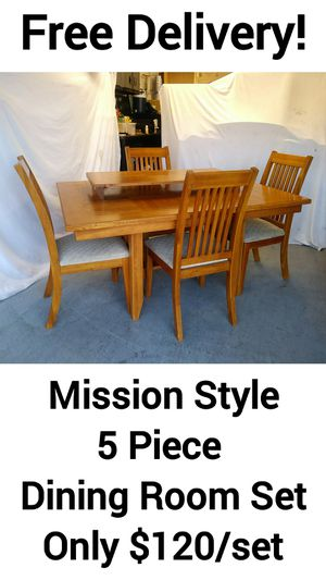 Mission Style 5 Piece Dining Room Kitchen Table Set w/ Free Delivery! for Sale in Peoria, AZ