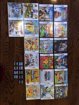 Nintendo DS and 3DS games: $5 each. Nintendo 3DS chrome red + two carrying cases + charger + stylus + charging dock. DS comes with box - $40. for Sale in North Ridgeville, OH