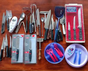 Large assortment of kitchen utensils, new & used knives, battery can opener, children's bowls, whisk, cheese slicer, some pieces are vintage items for Sale in South Amboy, NJ
