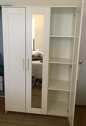 PERFECT CONDITION Ikea 3 Door Doors Mirror Mirrored Wardrobe Closet Armoire + 1 Clothes Rod + Adjustable Shelves INCLUDED for Sale in Monterey Park, CA
