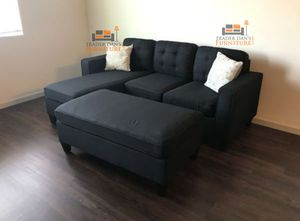 Brand New Black Linen Sectional Sofa Couch + Ottoman for Sale in Springfield, VA