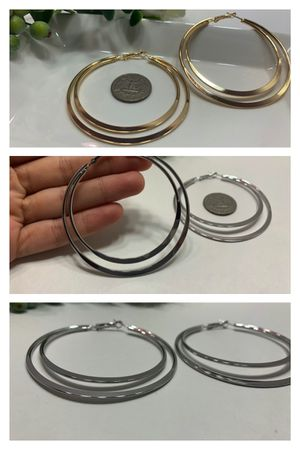 Exaggerated Large Smooth Circle Double Hoop Earring, Gold and Silver Color (2 Sets) for Sale in Los Angeles, CA