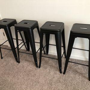 INDUSTRIAL METAL BAR STOOLS (MATTE BLACK) - SET OF 4 for Sale in Herndon, VA
