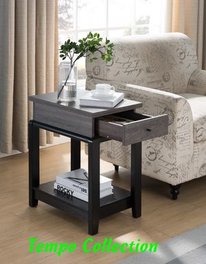 NEW, End Table with Drawer, Distressed Grey, SKU# 161829 for Sale in Santa Ana, CA