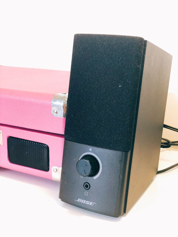 Pink Crosley Record Player with 2 Bose Speakers