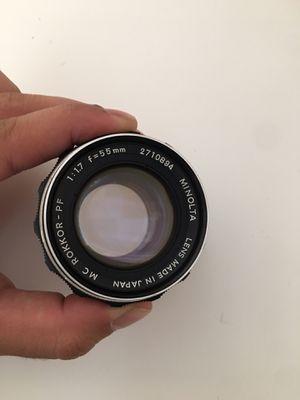 minolta mc rokkor-pf 55mm film camera lens for Sale in Las Vegas, NV