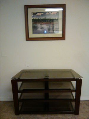 WOOD/GLASS TV STAND for Sale in NEW PRT RCHY, FL
