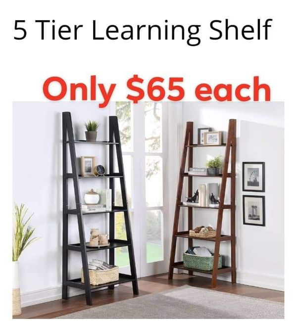 BIG SALE 📣 Ladder Bookcase / 5 Tier Leaning Shelf . Brand new. Walnut or black. Pick up! Free local delivery ✔️