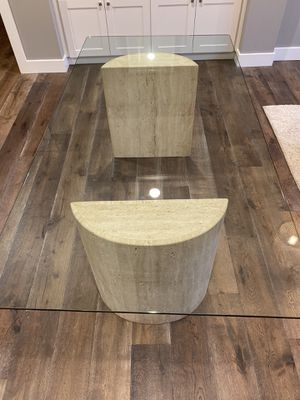 """Glass table with travertine base 40x78"""". H: 29"""" for Sale in Los Gatos, CA"""