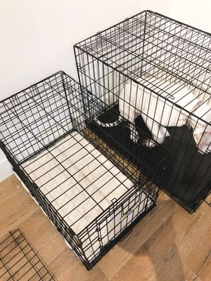 Double Doors Wire Dog Crate / Cage with Mat / Sleeping Pet for Sale in Houston, TX