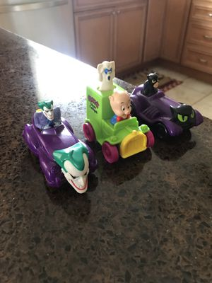 Vintage toys! Joker catwoman and porky pig cars - antique collectibles for Sale in Cherry Hill, NJ