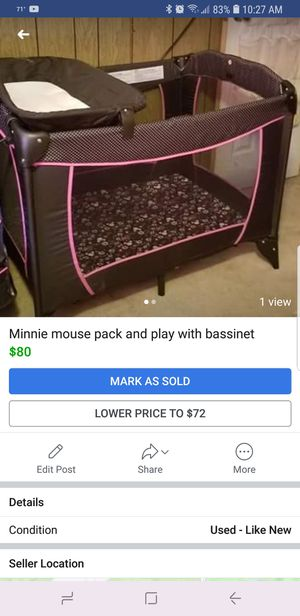 Minny mouse pack and play for Sale in Craigsville, WV