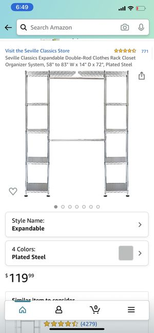 Expandable double-rod closet organizer for Sale in Arlington, TX
