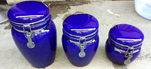 COBALT BLUE KITCHEN CANISTER SET IN GOOD CONDITION NO CRACKS/CHIPS for Sale in Colton, CA