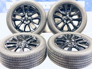 "20"" Jeep Grand Cherokee 2019 OEM black wheels rims tires OE 9167 2017 2018 2020 Tires like brand new rims A shape Package deal for Sale in Warren, MI"