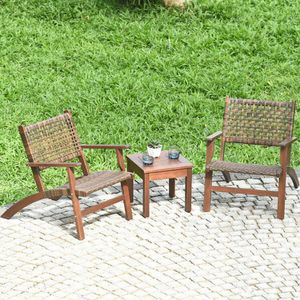 3PCS Outdoor Wooden Patio Rattan Furniture Set for Sale in Los Angeles, CA