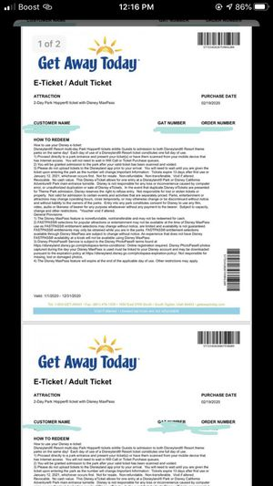 2 Disney E Tickets -2 day for Sale in Kentwood, MI