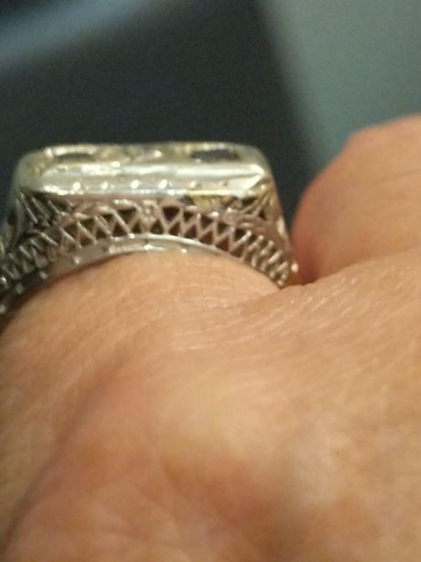 ANTIQUE 14K SAPPHIRE AND DIAMOND RING SZ 6