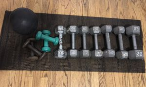 Dumbbells - 2 sets of 3lb weights, 2 sets of 10 lb weights, 1 set of 12 lb weights and a 20 lb weight. Additional clip to workout legs and wgt ball for Sale in Claremont, CA